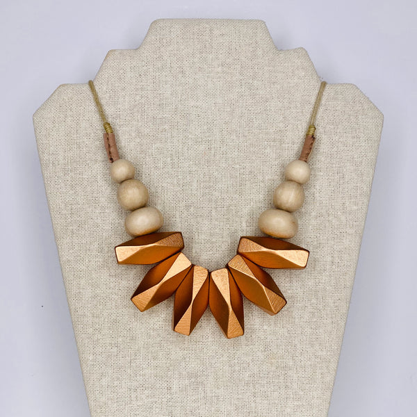 Necklace - Geometric Wooden Beads