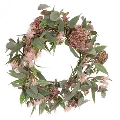 Christmas Wreath: Pink Bottlebrush and Eucalyptus