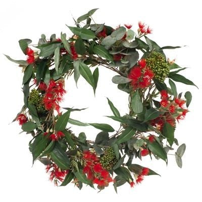 Christmas Wreath: Red Bottlebrush and Eucalyptus