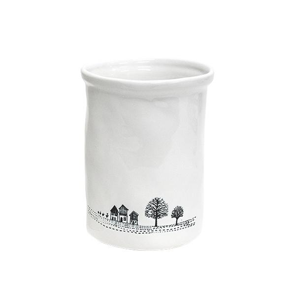 Canister - White with Etched House and Tree