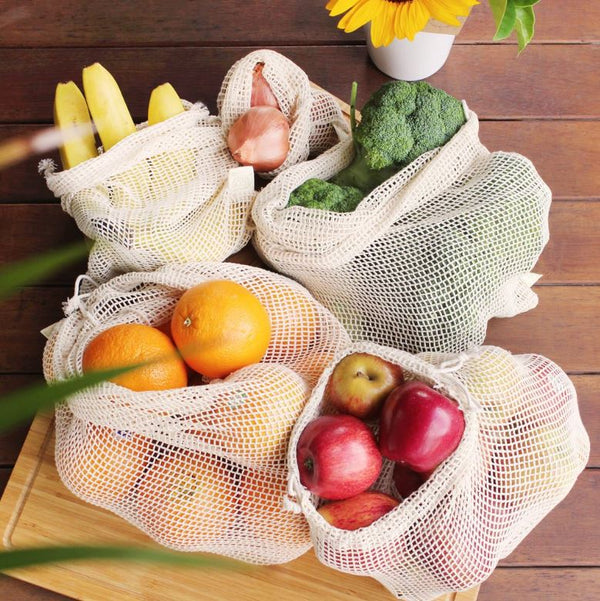 Organic Cotton Produce Bags - Set of 5