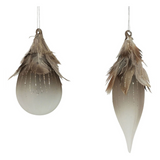 Feather Glass Baubles - Brown