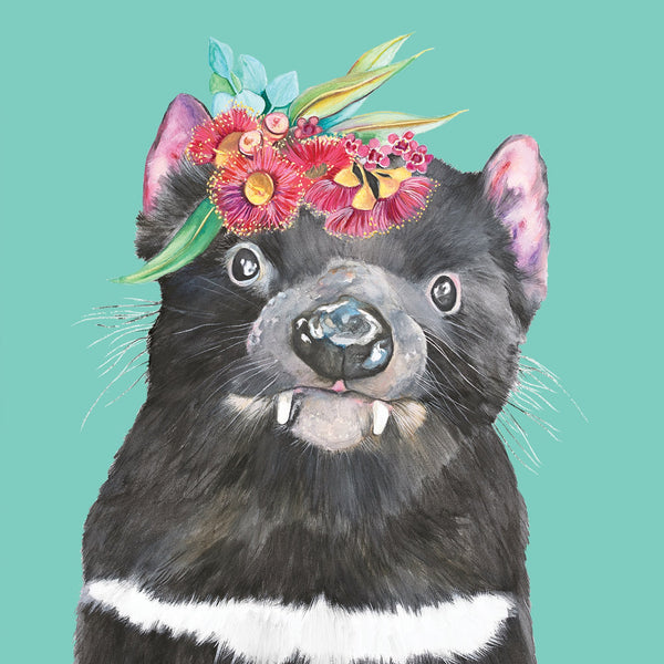 Tassie Devil Flower Crown Greeting Card