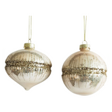 Glitter Glass Bauble - Peach