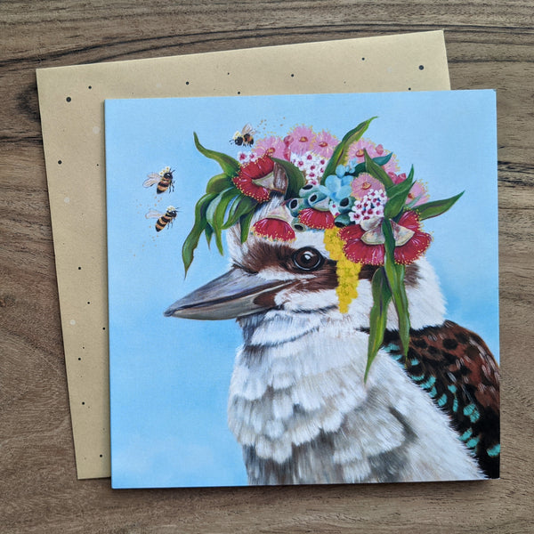 Kookaburra Flower Crown Greeting Card