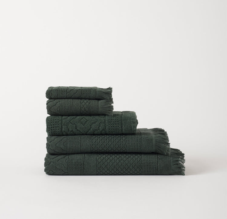 100% Cotton Jacquard Towel Set - Moss