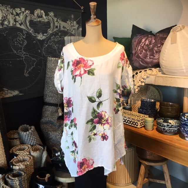 Italian Linen Top - White Floral