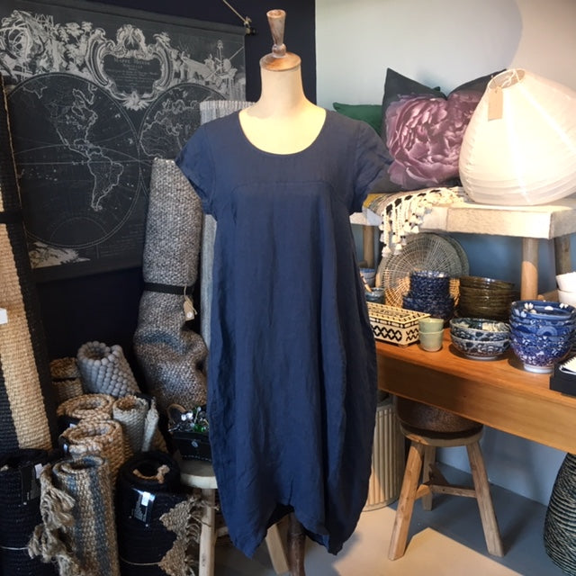 Italian Linen Dress - Navy Blue