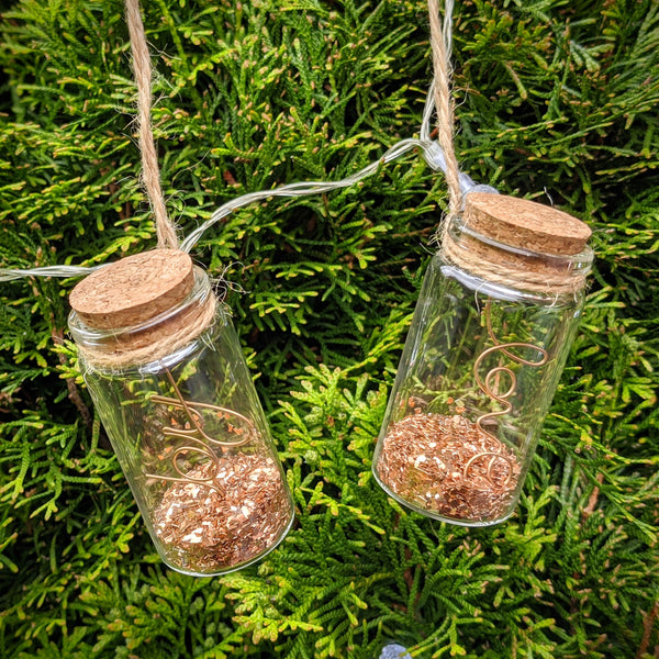 Glass Message in a Bottle Hanging Ornament - Copper
