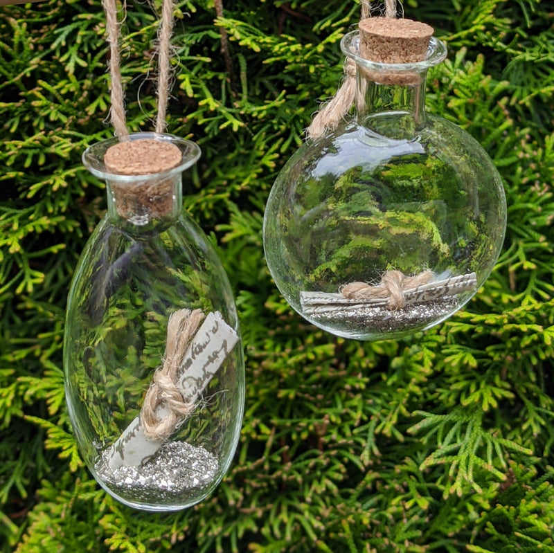 Glass Message in a Bottle Hanging Ornament