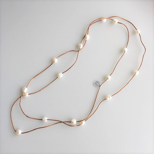 Necklace - Leather and Pearl