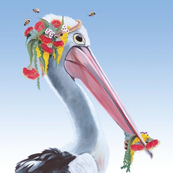Pelican Flower Crown Greeting Card