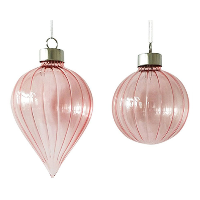 Retro Glass Bauble - Pale Pink
