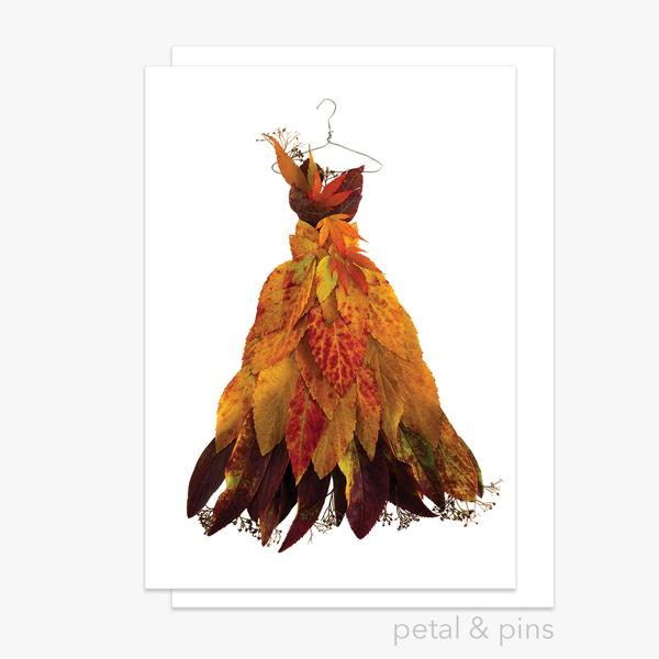 Card: Autumn Leaf Dress - by Petal & Pins