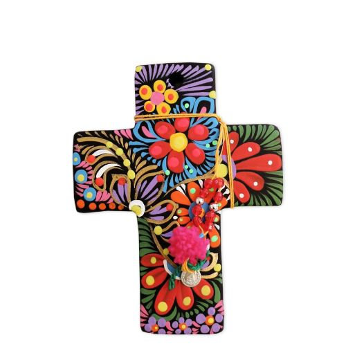 Mexican Painted Cross - Black or White