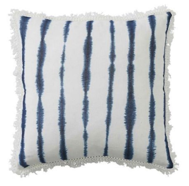 Navy Blue and White Striped Cushion with Fringe