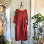 Italian Linen Baggy Dress with Pockets - Red