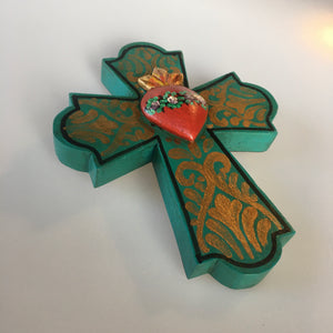 Mexican Wall Decor - Turquoise Wooden Cross with Heart