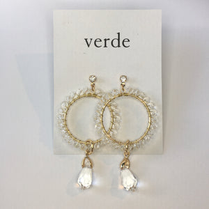 Clear Bead Dangle Earrings