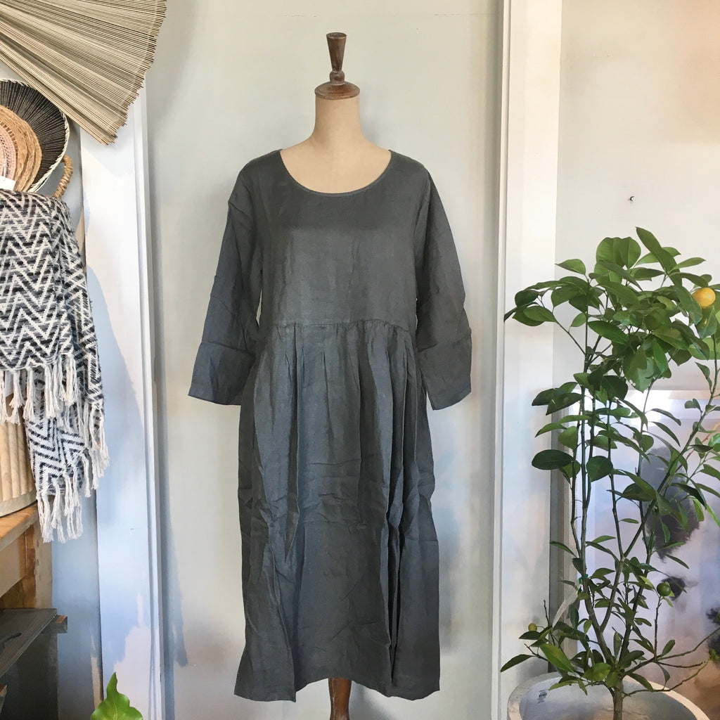 Italian Linen Baggy Dress with Pockets - Petrol