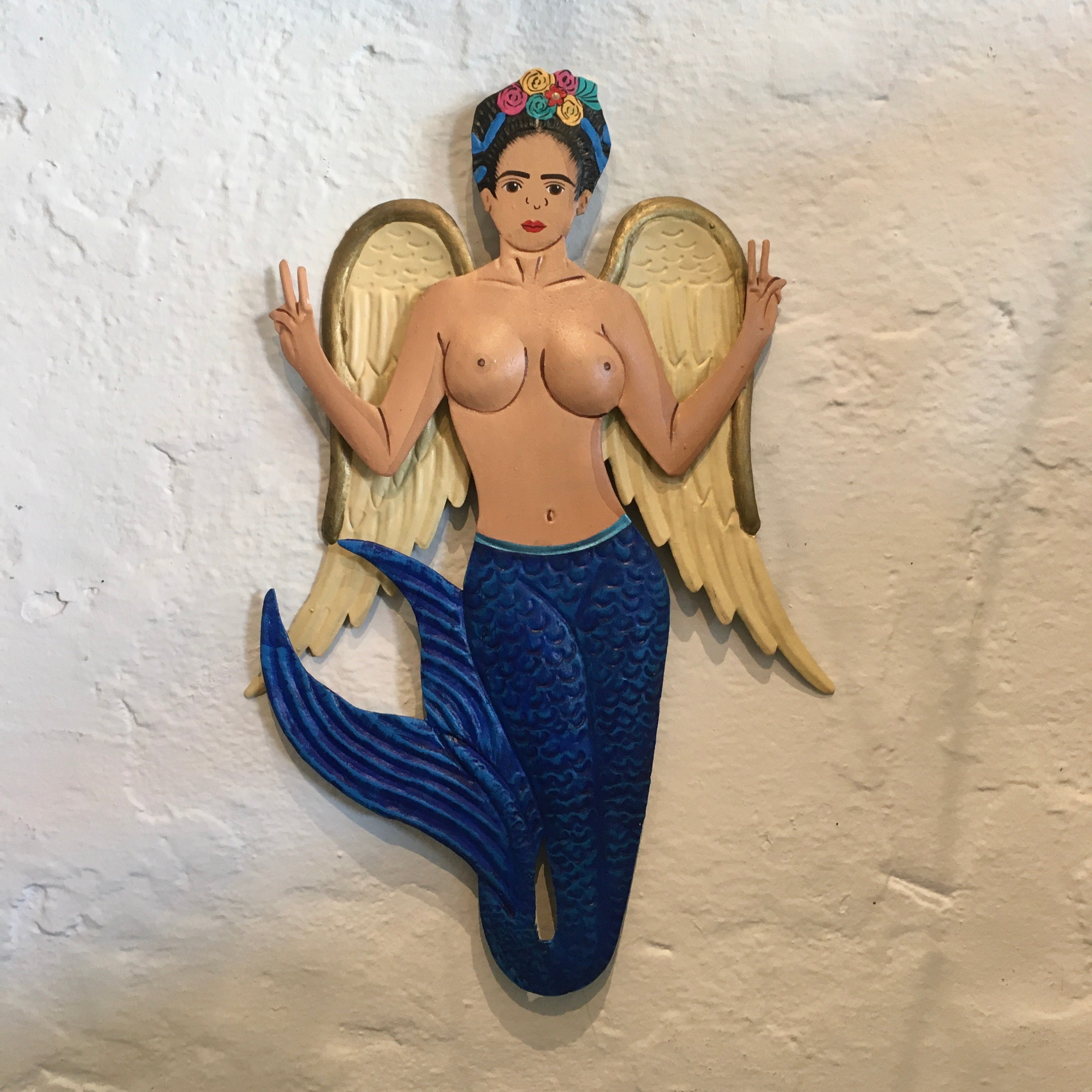 Mexican Wall Decor - Frida Mermaid Blue Tail