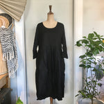 Italian Linen Baggy Dress with Pockets - Black