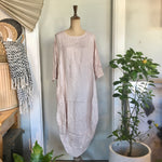 Italian Linen Dress - Scallop Edge with Pockets - Rose