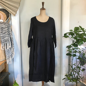 Italian Linen Baggy Dress with Pockets - Navy
