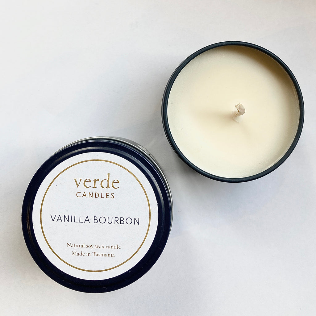 Verde Soy Wax Travel Candle in navy Tin - Large