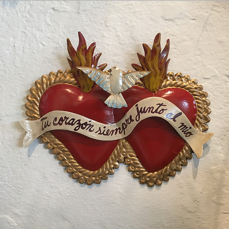 Mexican Wall Decor - Double Tin Heart Large