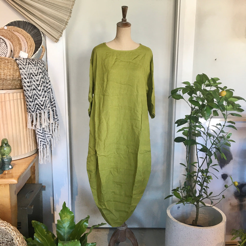 Italian Linen Dress - Scallop Edge with Pockets - Acid Green