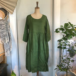 Italian Linen Baggy Dress with Pockets - Forest Green