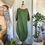Italian Linen Dress - Scallop Edge with Pockets - Forest Green