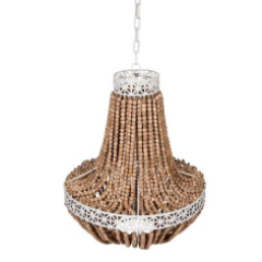 Natural Bead Chandelier with White Metal