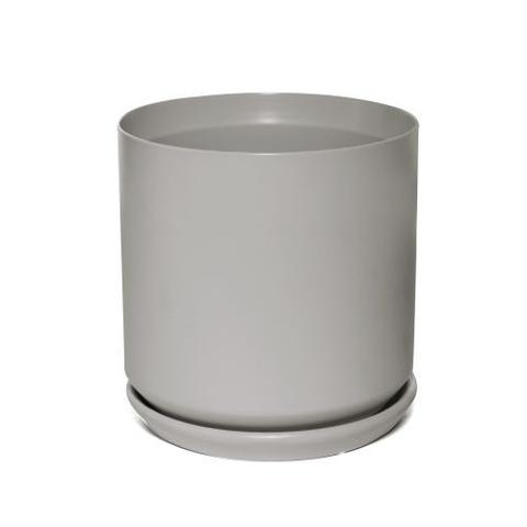 Pot Cylinder with Saucer - Matte Grey
