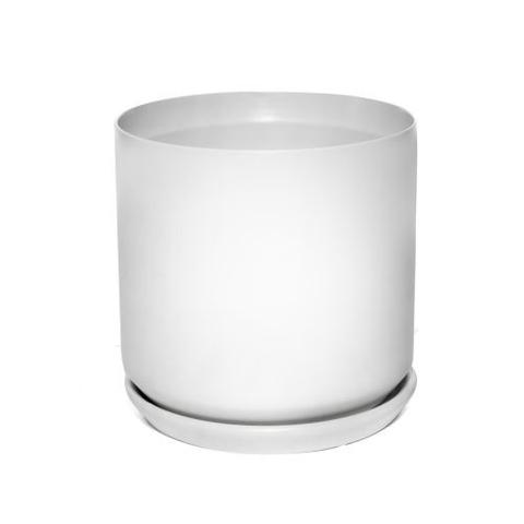 Pot Cylinder with Saucer - Matte White