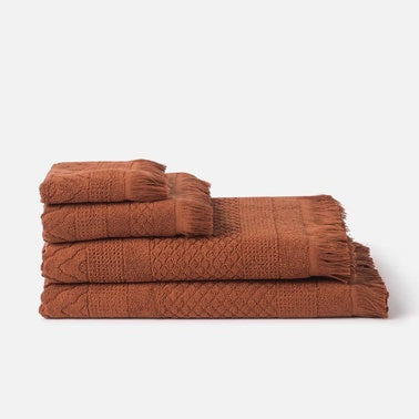 100% Cotton Jacquard Towel Set - Chestnut