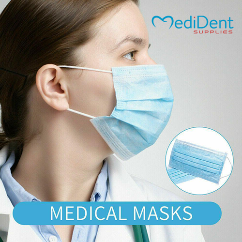 Medident Supplies Disposable 3-ply Medical Face Mask with Ear Loops (50 pcs/box)