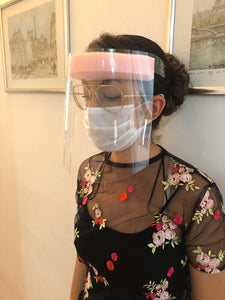 Full Face Disposable Shield- Adjustable Transparent- Pink Foam w/ Elastic Strap