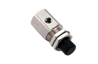 Push Button Valve, Momentary, 2-Way, Normally Closed, Black