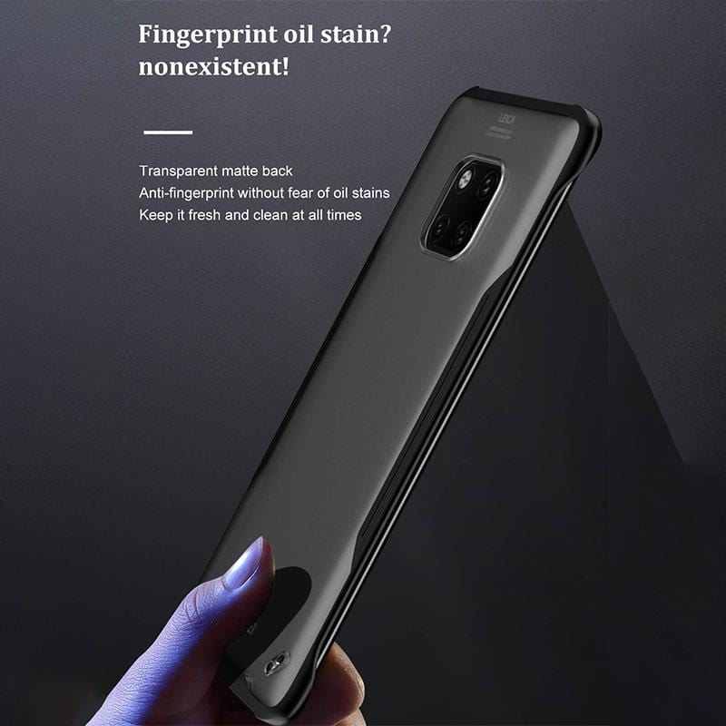 Luxury Transparent Case Metal Finger Ring Holder Borderless Frosted Silicone Hard Cover Shell  for Huawei Mate 20 Pro