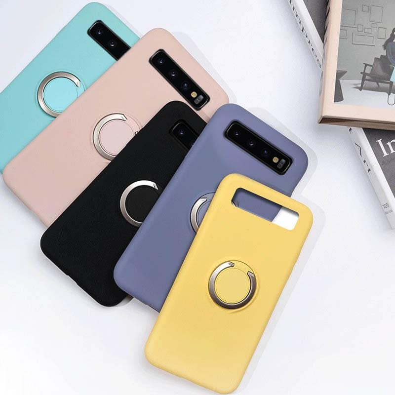 Liquid Silicone Ring Buckle Mobile Phone Case For Samsung S8/S8 Plus/S9/S9 Plus/S10/S10 Lite/S10 Plus/Note 9