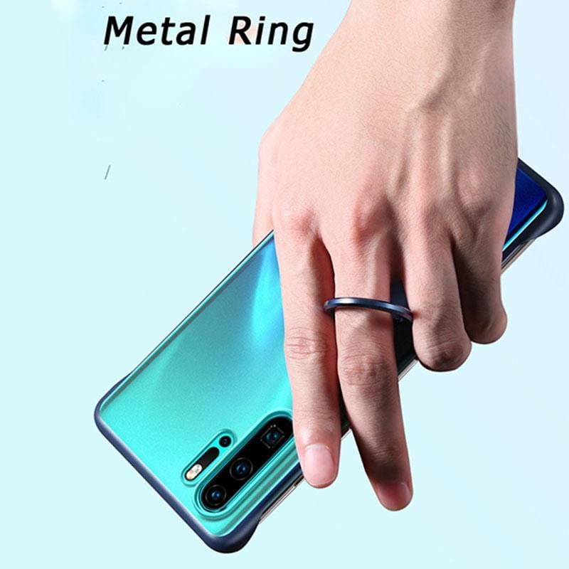 Luxury Transparent Case Metal Finger Ring Holder Borderless Frosted TPU+PC Hard Cover Shell for Huawei P30/P30 Pro/Honor 8X
