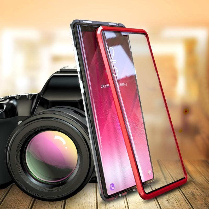 Magnetic Adsorption Transparent Tempered Glass Two side Glass Cover Phone Case For Samsung Note9/Note8/A8+(2018)/A9(2018)/A10/A50