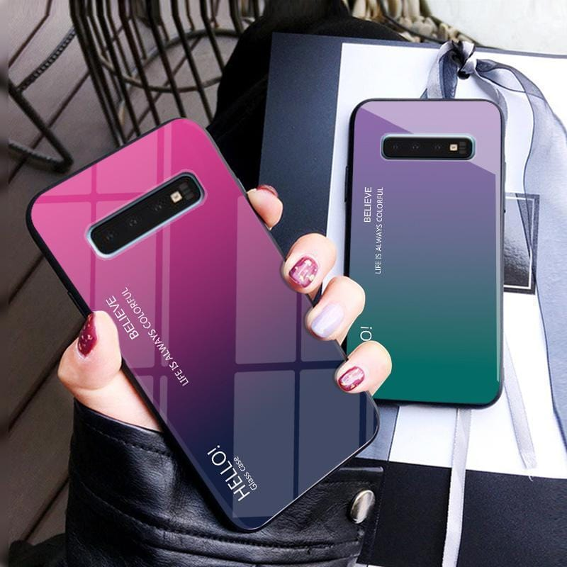 Luxury Hard Tempered Glass Fashion Gradient Protect Back Cover case For samsung s10 s10plus s10e