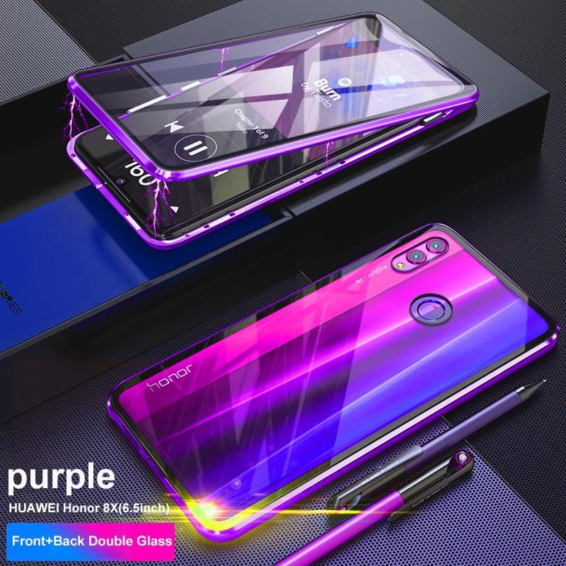Luxury Magnetic Metal Transparent Two Side Glass Cover Phone Case for HUAWEI Honor 10/8X