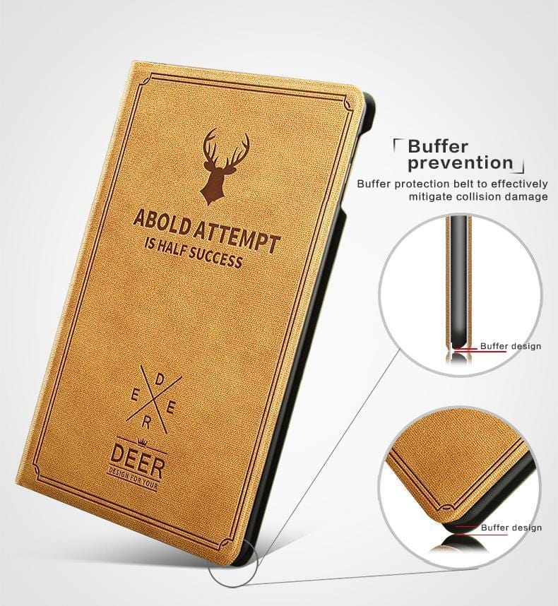 Nordic style Christmas Deer Case Tablet Stand PU Leather Magnet Smart Cover Auto Sleep/Wake for iPad
