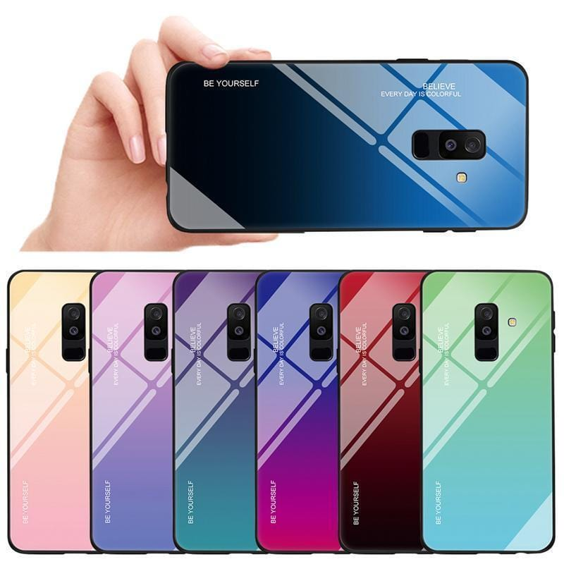 Gradient Phone Case Tempered Glass Cover Back Shell For Samsung J4 J6 J8 A8 A7 A6 PLUS(2018)
