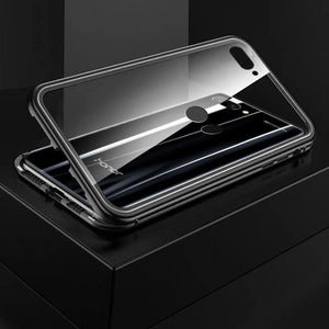 Metal Magnetic Adsorption Frame Clear Tempered Glass Phone Cases for Huawei Honor