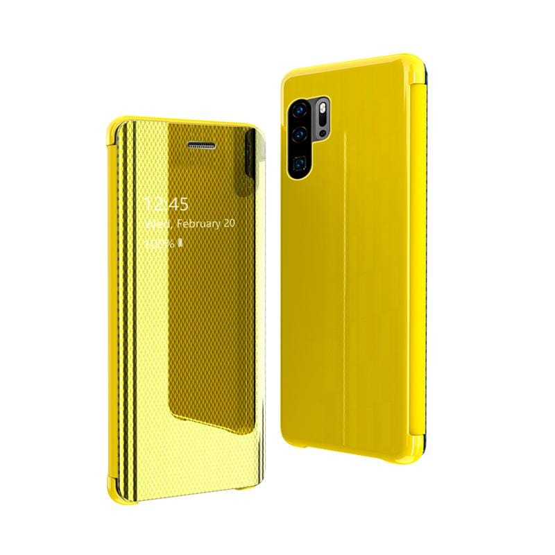 NEW Smart Sleep Awake Flip Case Grid Plated Mirror Stand Holder Cases For Huawei P30 Pro
